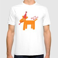 Party Animal-Orange Mens Fitted Tee White SMALL