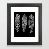 Patterned Plumes - White Framed Art Print