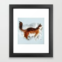 Calico Cat On Canvas Framed Art Print