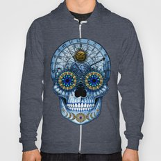 Astrologiskull - Astrological Sugar Skull Art in Blue and Tan - copyrighted Hoody