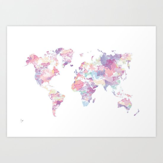 Watercolour World Map Purple Art Print By Clover Society6