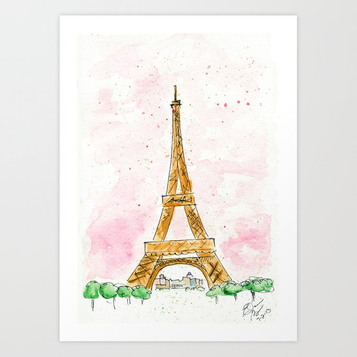 pink sky eiffel tower watercolor art print by elaine biss