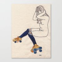 Striped Socks And Roller… Canvas Print