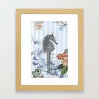 Seahorse in Blue Framed Art Print