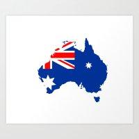 Australia Flag Map Art Print