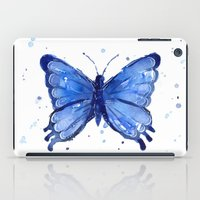 Butterfly Watercolor Blue Painting iPad Case