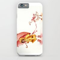 iPhone & iPod Case featuring Rainy Day - Girl in a Yellow Rain Coat with Read Umbrella and with a Goose by Goosi