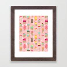 Ice Cream summer fresh food vacation heatwave city life pattern print geometric triangle design Framed Art Print