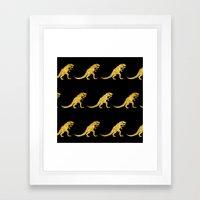 Golden T.Rex Pattern Framed Art Print