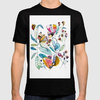 Flowers in the Wind Mens Fitted Tee Black SMALL