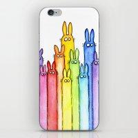 Bunny Rainbow Watercolor Pattern iPhone & iPod Skin