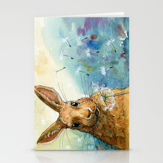 Funny rabbits - With Dandelions 548 Stationery Card
