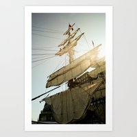 Tall Ship In Boston Harb… Art Print