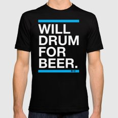 Will Drum For Beer Mens Fitted Tee SMALL Black