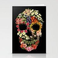 Floral Skull Vintage Black Stationery Cards