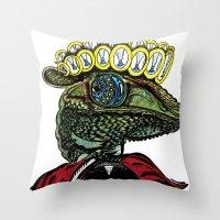 Annunaki Reptilian Reina  Throw Pillow