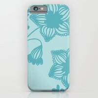 Floral silhouette blue  iPhone 6 Slim Case