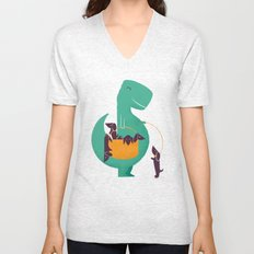 T-Rex and his Basketful of Wiener Dogs Unisex V-Neck