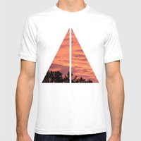 Burning Sunrise Mens Fitted Tee White SMALL
