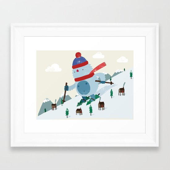 Beware the Yeti! Framed Art Print