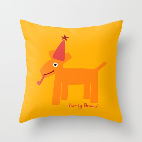 Party Animal-Orange Throw Pillow