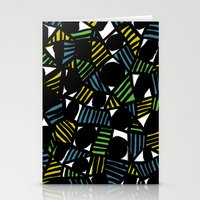 Black, blue, green and yellow Stationery Cards