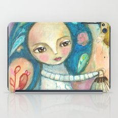 Free to fly - girl and birds iPad Case