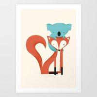 Art Print featuring Fox & Koala by Jay Fleck