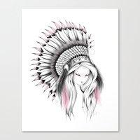Indian Headdress Pink Version Canvas Print