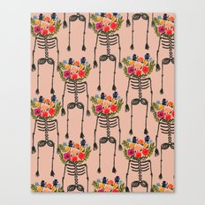 Skeleton and Flowers. Canvas Print