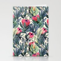 flowers Stationery Cards featuring Painted Protea Pattern by micklyn