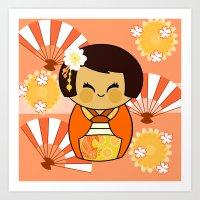 Kokeshi Momo Art Print