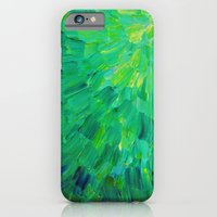 SEA SCALES in GREEN - Bright Green Ocean Waves Beach Mermaid Fins Scales Abstract Acrylic Painting iPhone 6 Slim Case