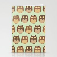 owls Stationery Cards featuring Owls by sheena hisiro