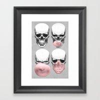 Skulls chewing bubblegum Framed Art Print