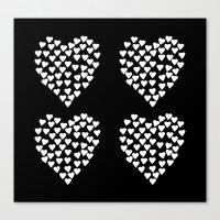 Hearts Heart x2 Black Canvas Print