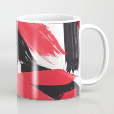 Modern Abstract Black Red Brush Strokes Pattern Mug