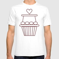 Cupcake Heart Mens Fitted Tee White SMALL