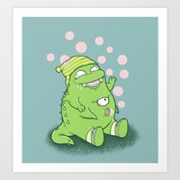 Happy Green Monster Art Print