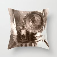 Girl With Camera Throw Pillow