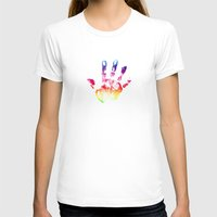 Handprint Womens Fitted Tee White SMALL