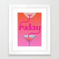 friday cocktail lettering Framed Art Print