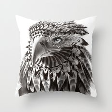 black and white ornate rendered tribal eagle Throw Pillow