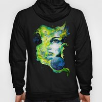 Esther Green (Set) by carographic watercolor portrait Hoody