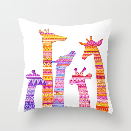 Giraffe Silhouettes in Colorful Tribal Print Throw Pillow