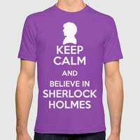 Keep Calm - Sherlock Pos… Mens Fitted Tee Ultraviolet SMALL
