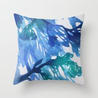 Morning Blossoms 2 - Blu… Throw Pillow