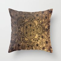 Mandala in Gold Throw Pillow