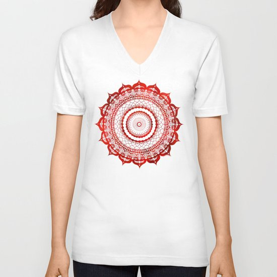 omulyána red gallery mandala V-neck T-shirt