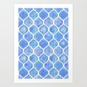 Cornflower Blue Moroccan Hand Painted Watercolor Pattern Art Print